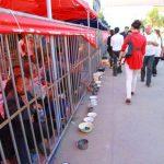 景観保護のために物乞いの人々を檻の中に収容する中国